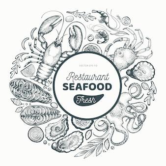 Zeevruchten en vis voor een restaurant in een cirkel