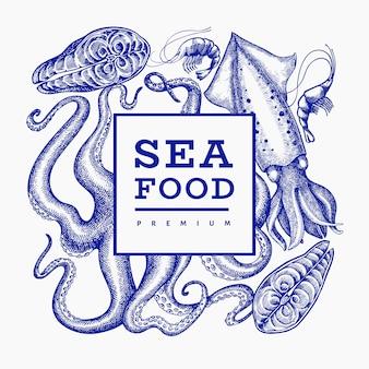 Zeevruchten. hand getekend zeevruchten illustratie. gegraveerd voedsel. retro zeedieren achtergrond