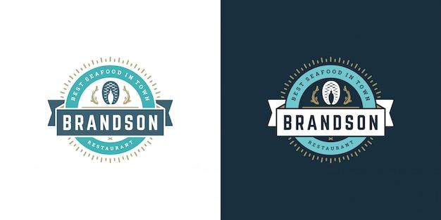 Zeevruchten logo of teken vector illustratie vismarkt en restaurant embleem sjabloon ontwerp visfilet steak