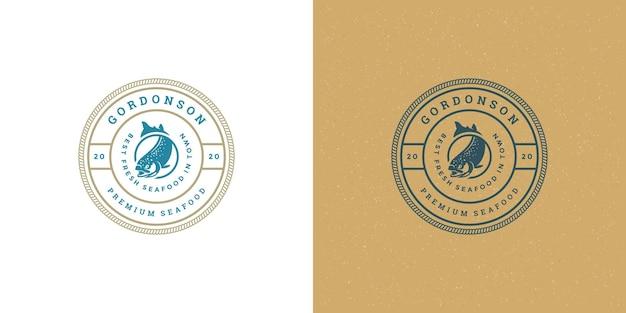 Zeevruchten logo of teken vismarkt en restaurant embleem sjabloon