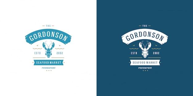 Zeevruchten logo of teken vismarkt en restaurant sjabloon kreeft silhouet