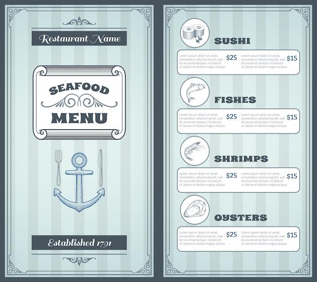 Zeevruchten menu ontwerp
