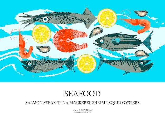 Zeevruchten. poster met tonijn, garnalen, makreel, inktvis, oesters, zalm en zalmsteak met een schijfje citroen. illustratie met unieke vector hand getrokken texturen.