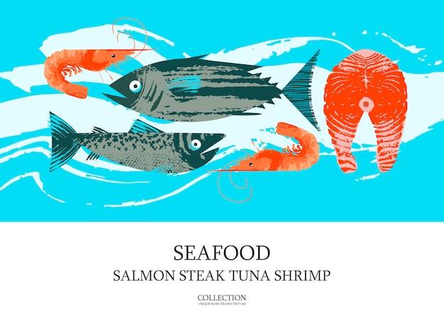 Zeevruchten. poster met tonijn, garnalen, makreel, zalm en zalmsteak. illustratie met unieke vector hand getrokken texturen.