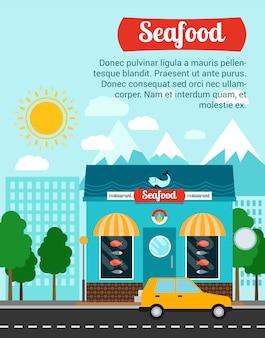 Zeevruchten reclamebanner sjabloon met winkel gebouw