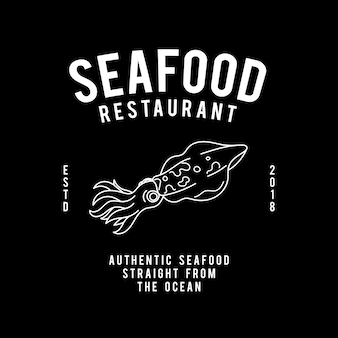 Zeevruchten restaurant tekstontwerp vector