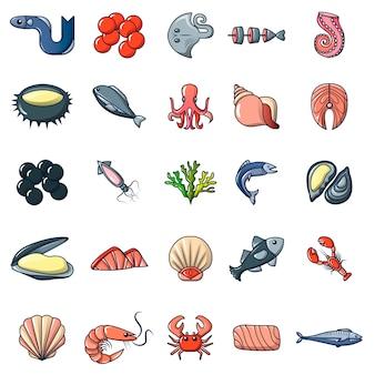 Zeevruchten vis oceaan pictogrammen instellen