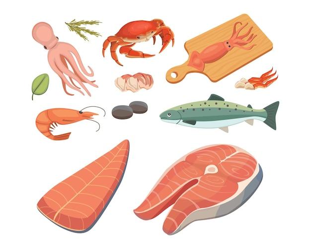 Zeevruchtenillustraties instellen platte verse vis en krab. kreeft en oester, garnalen en menu, octopusdier, schaaldieren citroen.