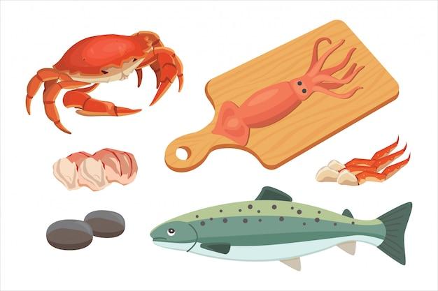Zeevruchtenillustraties instellen verse vis en krab. kreeft en oester, garnalen en menu, octopusdier, schaaldieren citroen