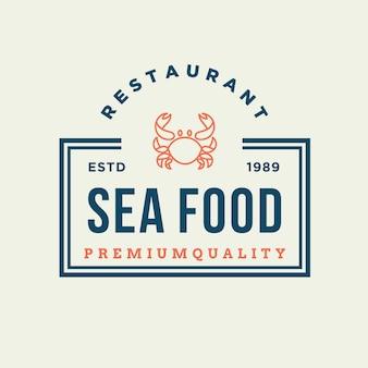 Zeevruchtenkrab voor embleemontwerp van de restaurantlijn