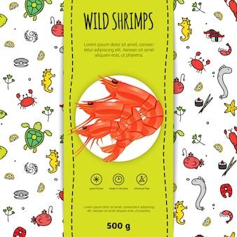Zeevruchtenverpakking voor wilde garnalen met bord