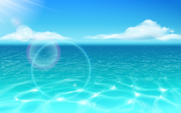 Zeewateroppervlak en gloeiende zon met wolken oceaan