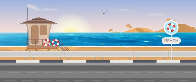 Zeezicht. reddingstoren op het strand