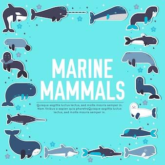 Zeezoogdieren dierlijke collectie iconen set