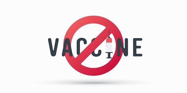 Zeg nee tegen het covid-vaccin op wit wordt geïsoleerd