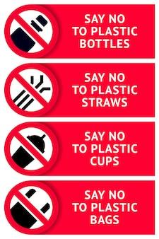 Zeg nee tegen plastic: stickers om af te drukken