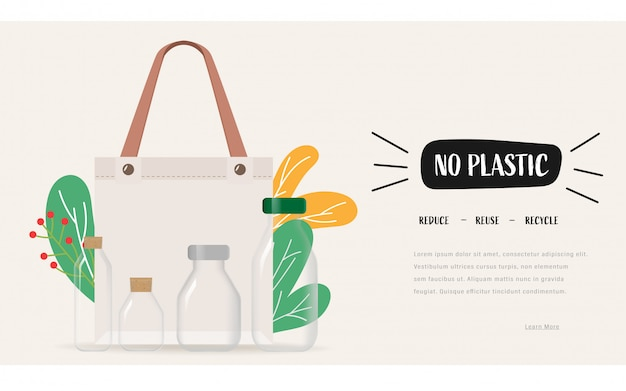 Zeg nee tegen plastic zakken en draag een stoffen tas. hergebruik verminderen recycle concept om aarde te redden.
