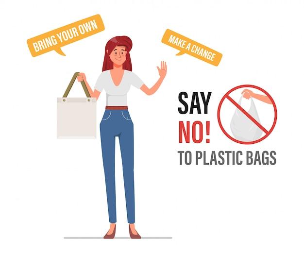 Zeg nee tegen plastic zakken en draag een stoffen tas. vervuiling probleem concept.