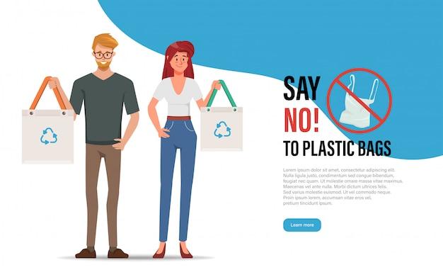 Zeg nee tegen plastic zakken. vervuiling probleem concept. mensen karakter levensstijl om het wereldconcept te redden.