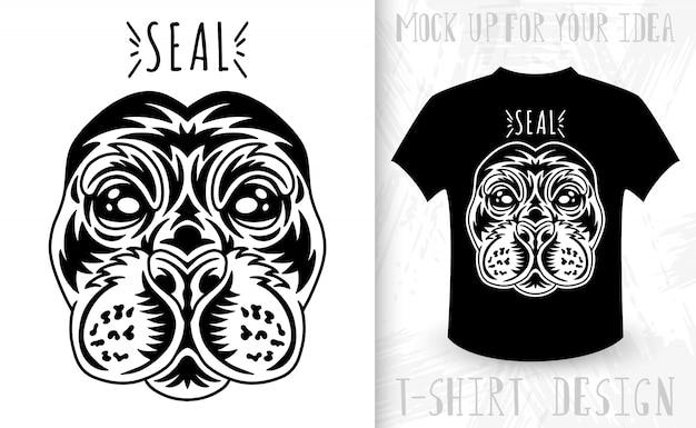 Zegel gezicht. idee voor t-shirt print in vintage zwart-wit stijl.