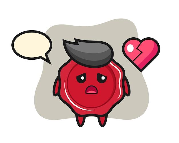 Zegellak cartoon afbeelding is gebroken hart