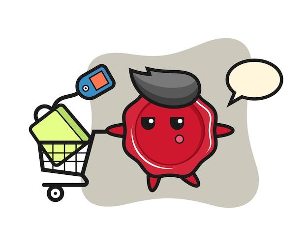 Zegellak illustratie cartoon met een winkelwagentje
