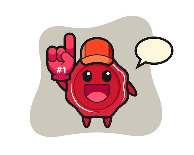 Zegellak illustratie cartoon met nummer 1 fans handschoen