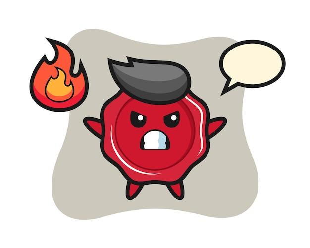Zegellak karakter cartoon met boos gebaar