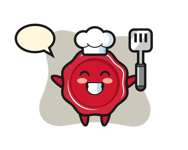 Zegellak karakter illustratie als chef-kok kookt