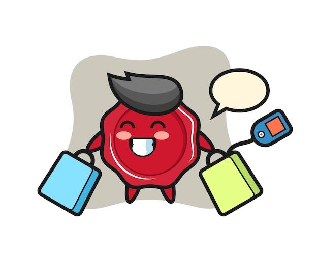 Zegellak mascotte cartoon met een boodschappentas