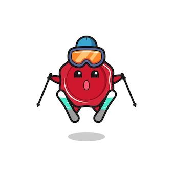 Zegelwas mascotte karakter als ski-speler, schattig stijlontwerp voor t-shirt, sticker, logo-element
