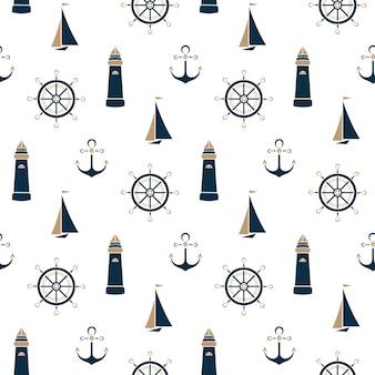 Zeilboot, baken, anker en stuurwiel naadloos patroon