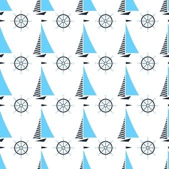 Zeilboot en schipstuurwiel. mariene naadloze patroon