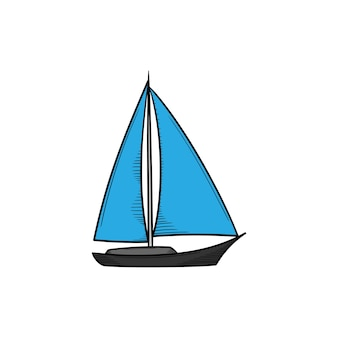Zeilboot hand getekende illustratie pictogram ontwerp geïsoleerd