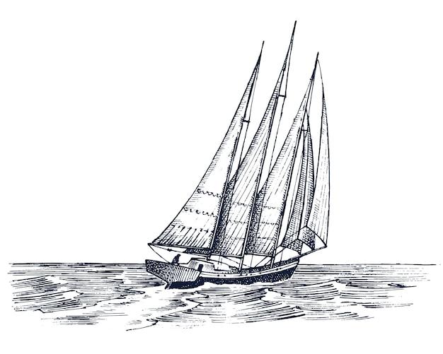 Zeilboot in de zee, zomeravontuur, actieve vakantie.