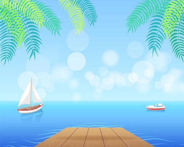 Zeilboot met wit canvas die in diepe waterenillustratie varen