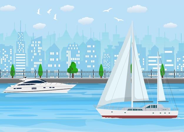 Zeilboot met wit canvas en modern jacht op wateroppervlak dichtbij kustlijn