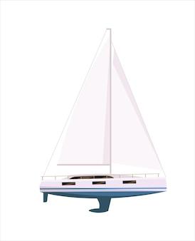 Zeilboot of jachtschip met mast die op witte achtergrond wordt geïsoleerd Premium Vector