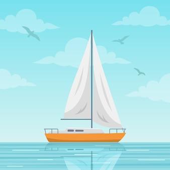 Zeilboot op de achtergrond van de zee
