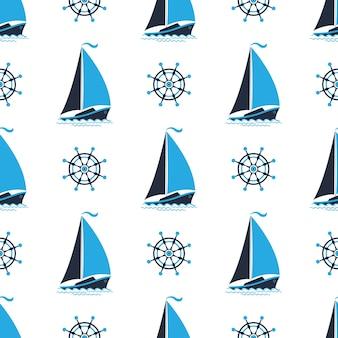 Zeilboot op de golven. kapiteins wiel. naadloze nautische patroon.