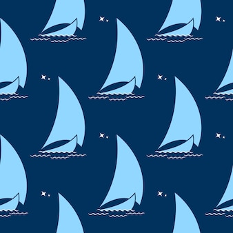 Zeilboot op de golven tegen de achtergrond van het naadloze patroon van de nachtelijke hemel.