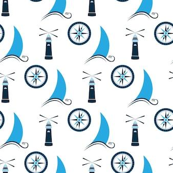 Zeilboot op golf, vuurtoren en zeekompas naadloos patroon.
