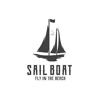 Zeilboot retro logo vintage silhouet illustratie