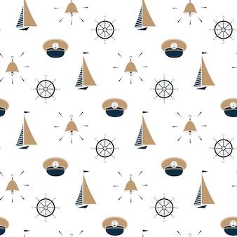 Zeilboot, scheepsbel, kapiteinshoed, naadloos patroon van het stuurwiel.