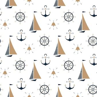 Zeilboot, scheepsbel, nautisch anker, stuurwiel naadloos patroon.