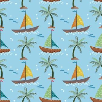 Zeilboten en kokosnoot boom naadloze patroon.