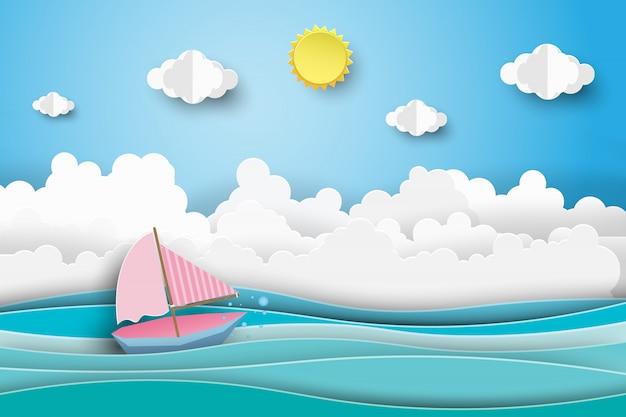 Zeilboten op het oceaanlandschap met blauwe hemel.