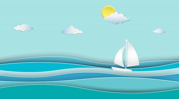 Zeilboten op het oceaanlandschap met zonnig.