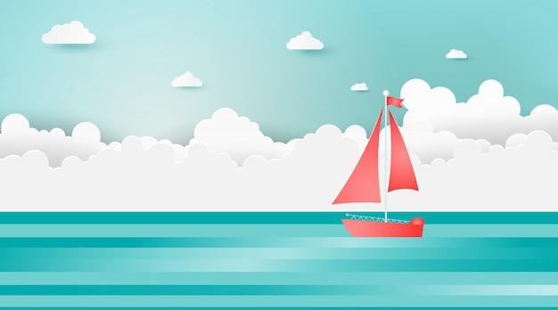 Zeilboten op het oceaanlandschap met zonnige dag.