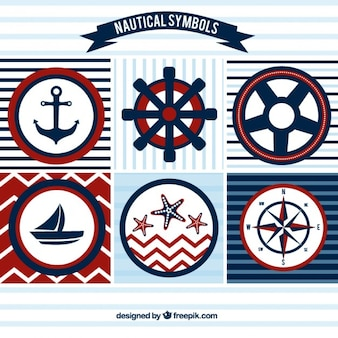 Zeilen badges in rode en blauwe kleuren